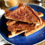Cinnamon Toast on a blue plate