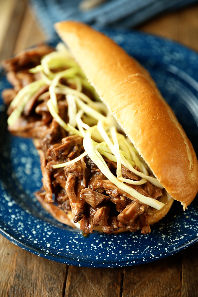 Slow Cooker Roast Beef Debris Po 'Boys