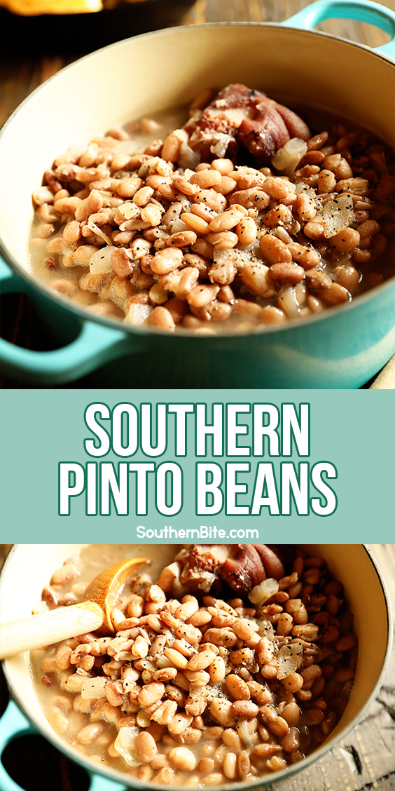 Pot of slow cooked pinto beans for pinterest