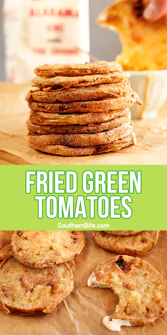 Stack of fried green tomatoes for Pinterest