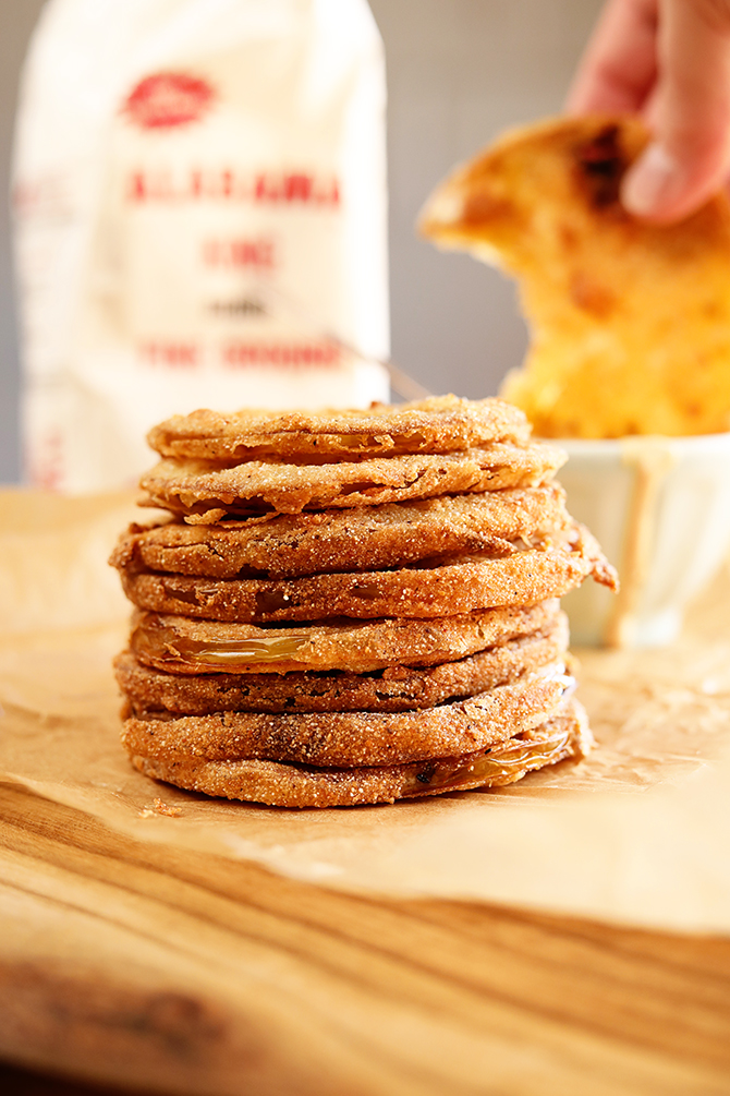 Stack of fried green tomatoes with remoulade