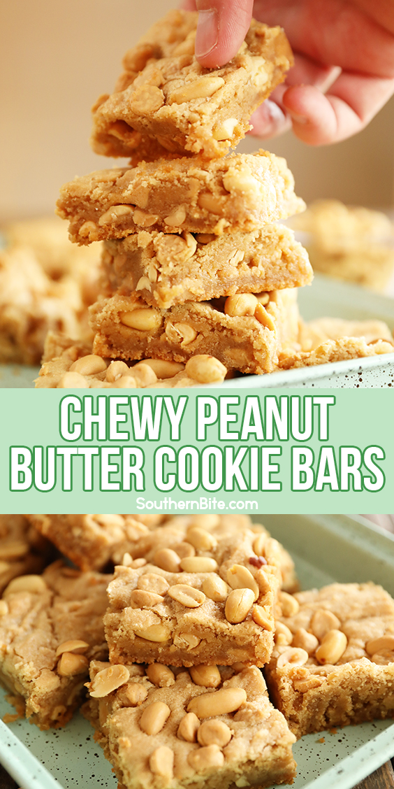 Chewy Peanut Butter Cookie Bars for Pinterest