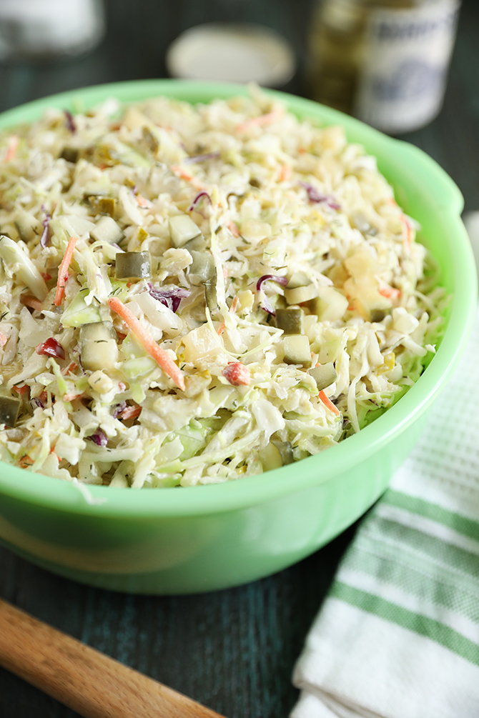 Dill Pickle Coleslaw in a green bowl