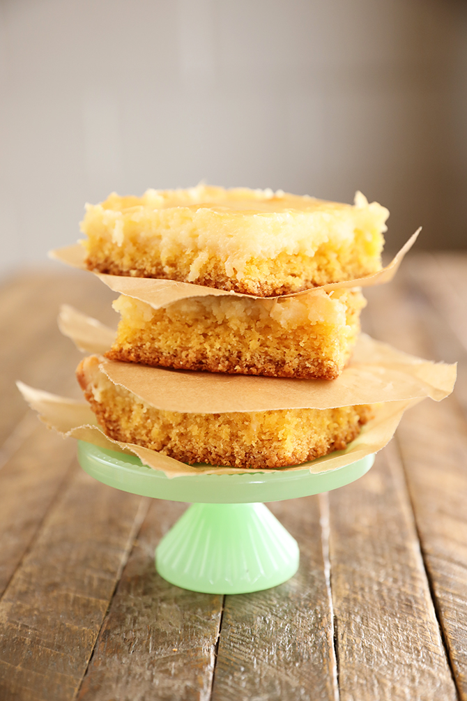 Stack of 3 pieces of Gooey Butter Cake