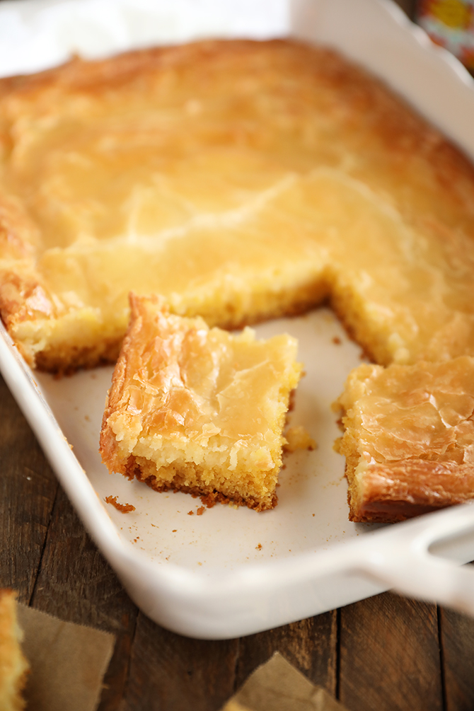 Piece of Gooey Butter Cake in pan