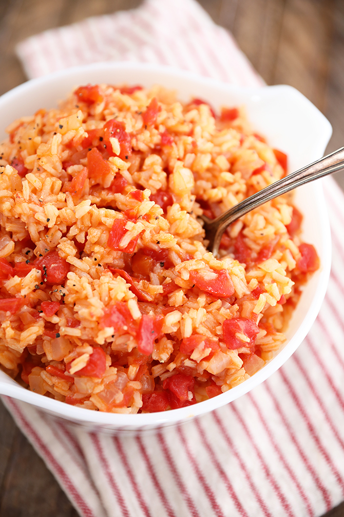 Overhead shot of Tomatoes and Rice in white bowl