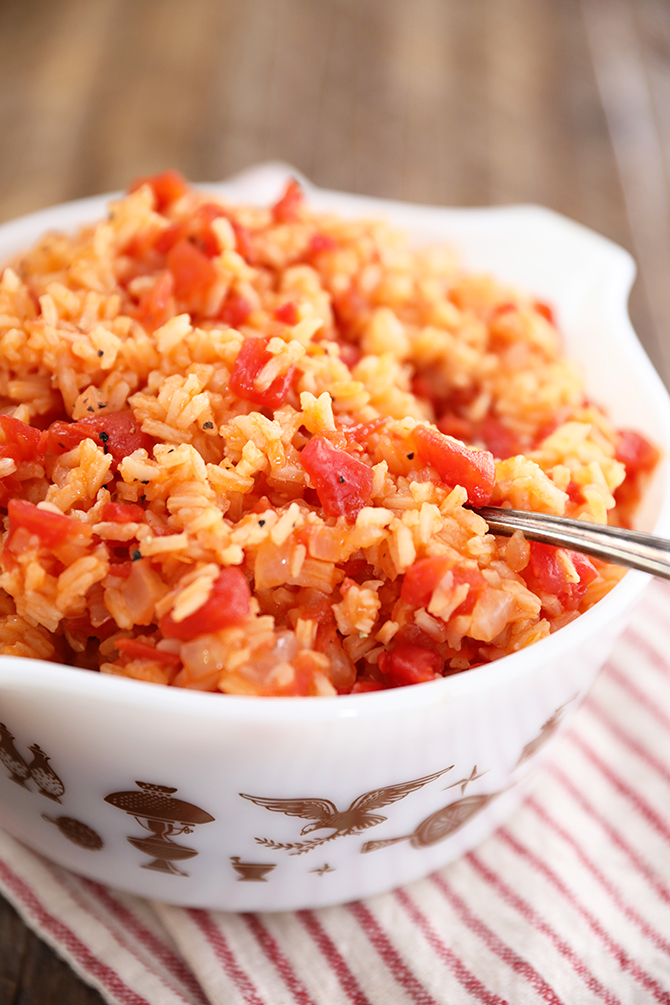 Tomatoes and Rice in a white bowl