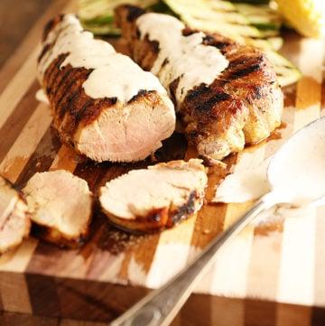 White BBQ Sauce Grilled Pork Tenderloin