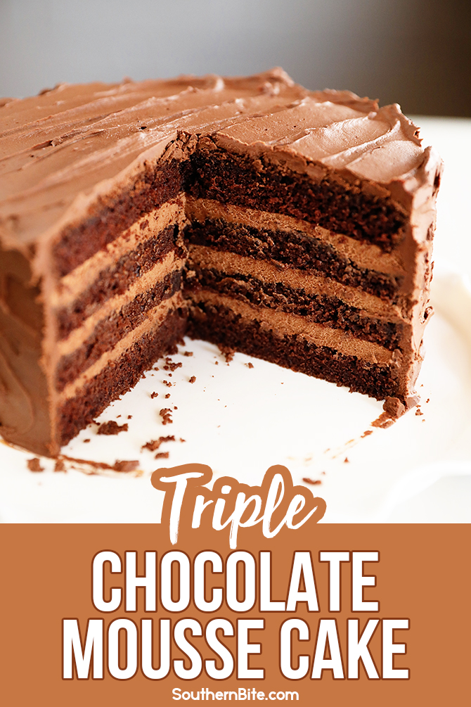 Sliced Triple Chocolate Mousse Cake