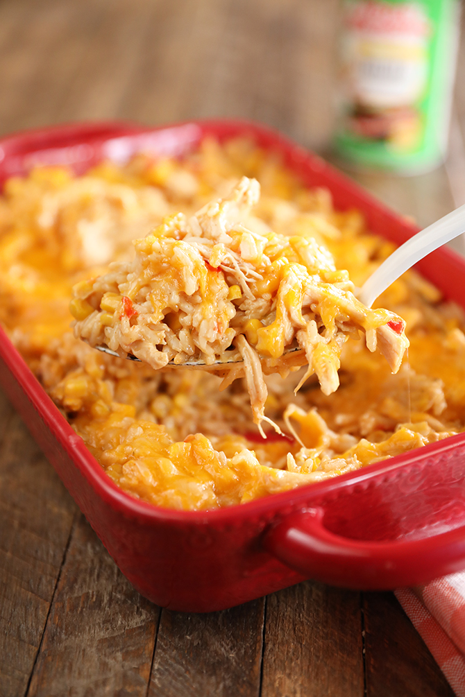 Scoop of Cheesy Chicken and Rice Casserole