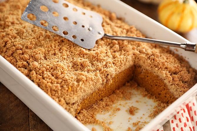 Pan of Caramel Pumpkin Crumb Cake
