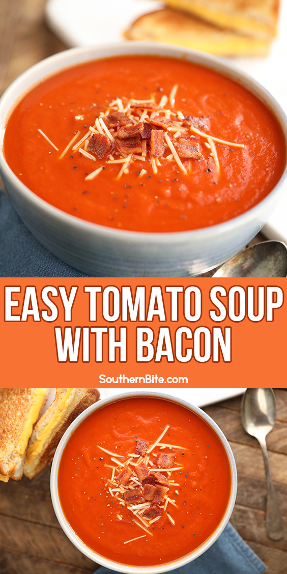 Tomato Soup topped with Bacon and cheese - Image for Pinterest