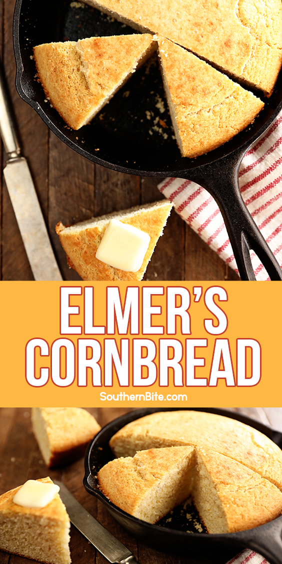 Cornbread in a cast iron skillet - collage for Pinterest