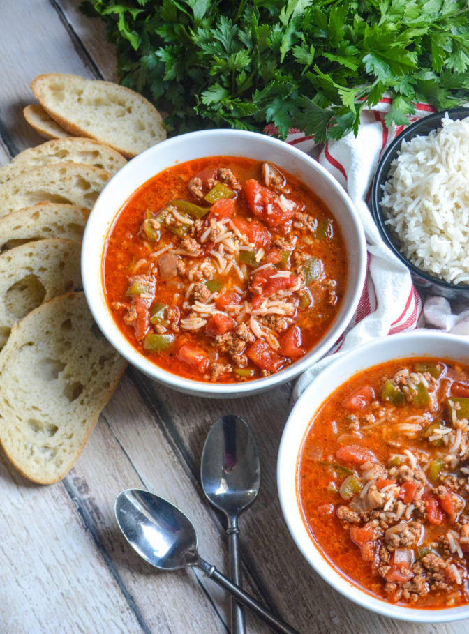Two bowls of Instant Pot Stuffed Pepper Soup