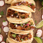 Tacos made from Slow Cooker Pork Carnitas