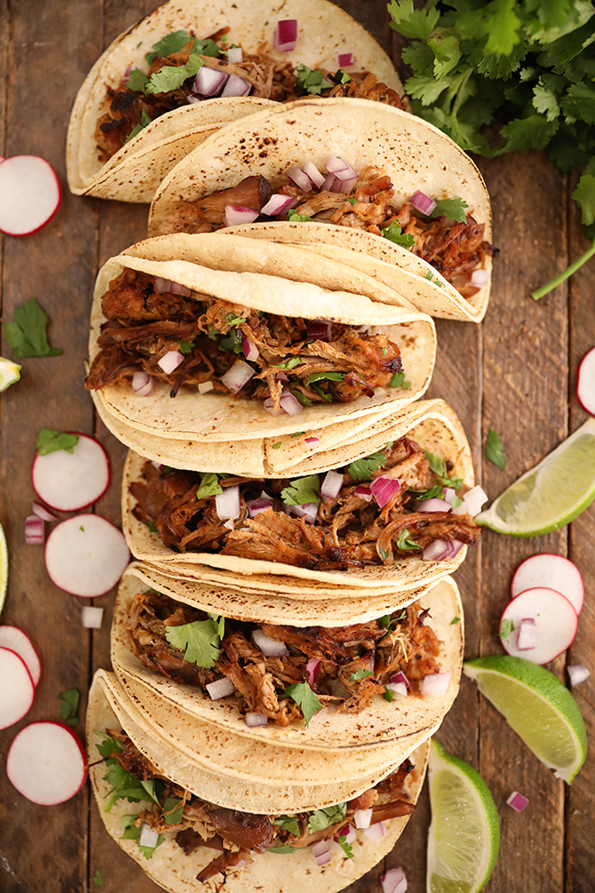 Taco made from Slow Cooker Pork Carnitas