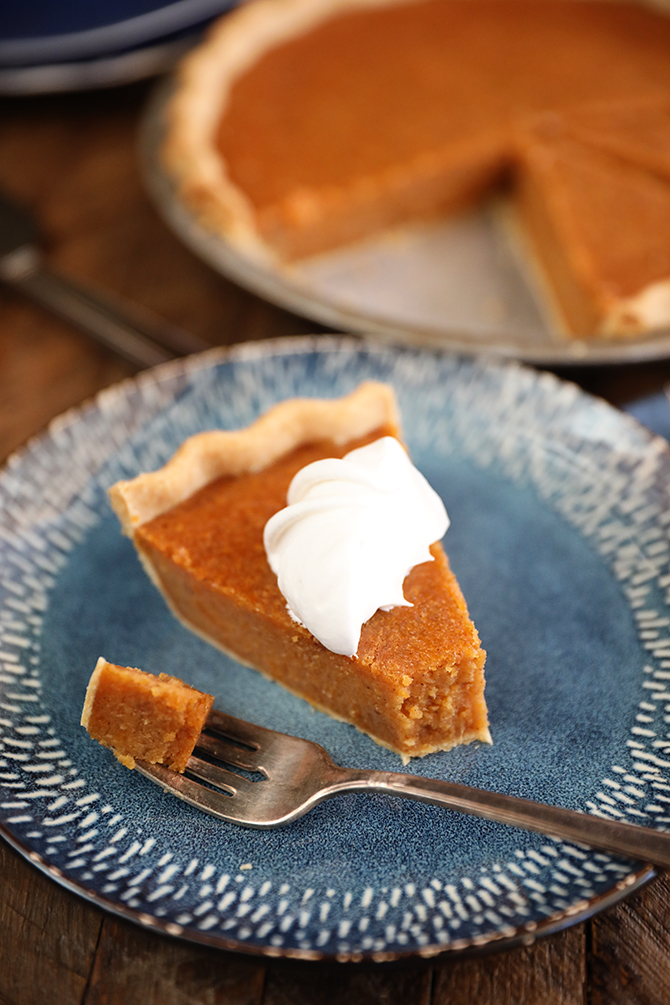 Slive os Sweet Potato Pie on a plate