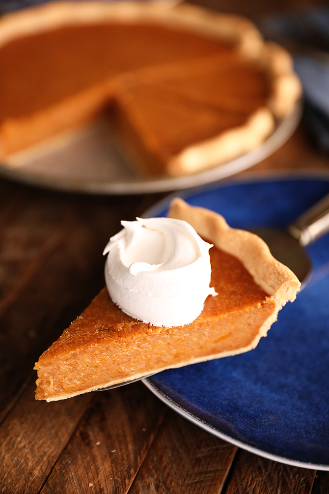 Slice of Sweet Potato Pie with whipped cream