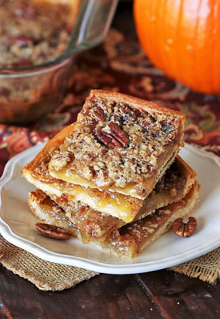 Stack of Crescent Pecan Pie Squares
