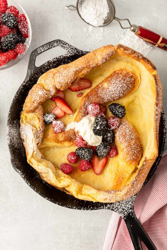 Dutch Baby Pancake in Cast Iron Skillet