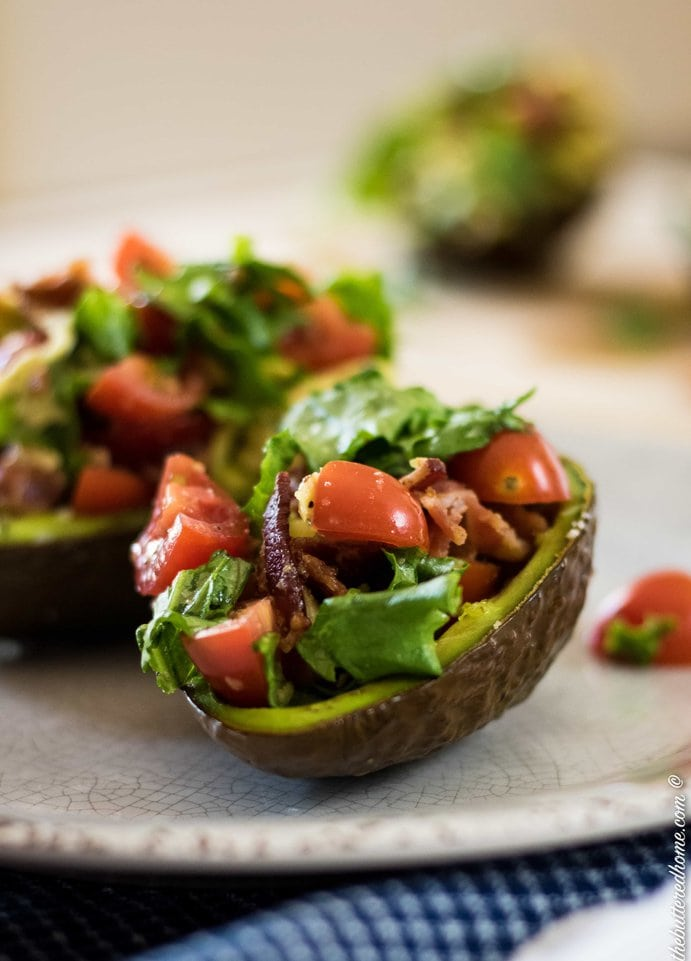 BLT Stuffed Avocados on a plate