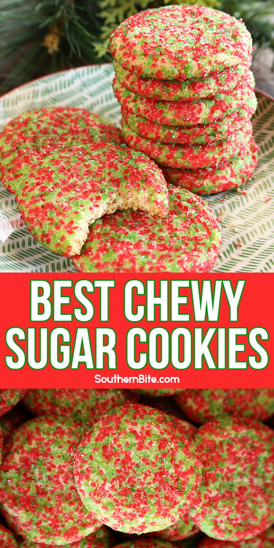Chewy Sugar Cookies on a plate - image for Pinterest