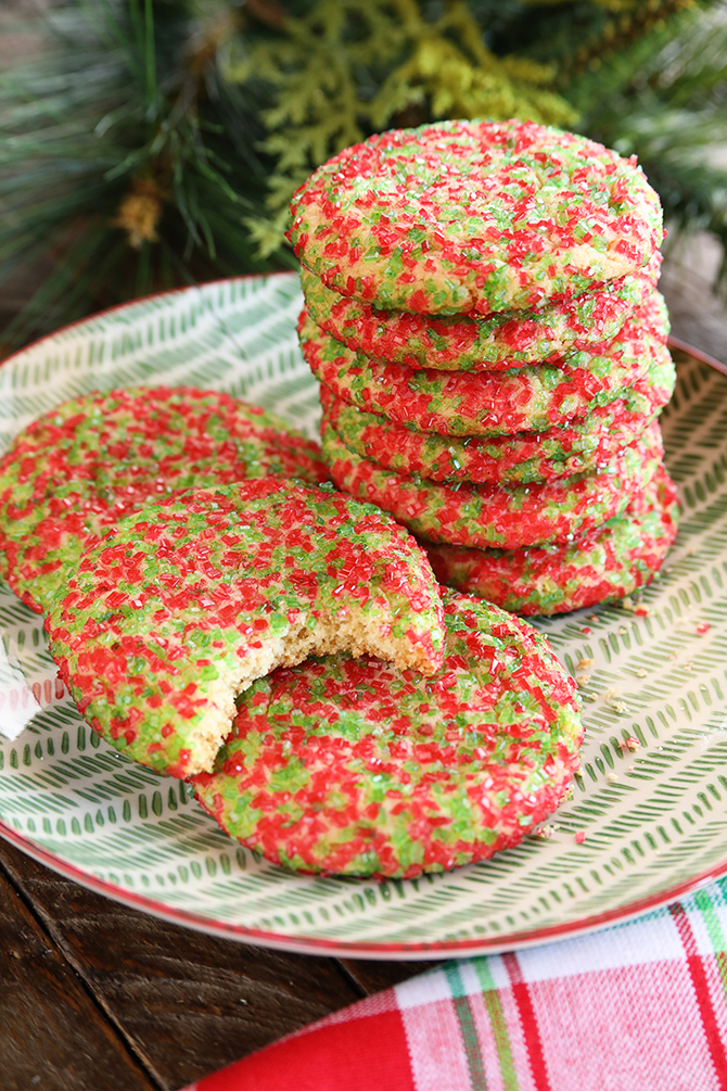 Chewy Sugar Cookies on a plate