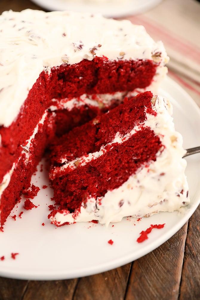 a slice of Perfect Red Velvet Cake