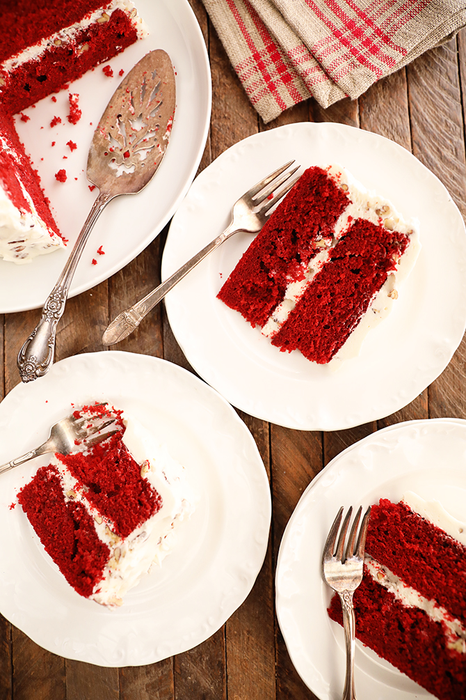 Pieces of Perfect Red Velvet Cake on small plates