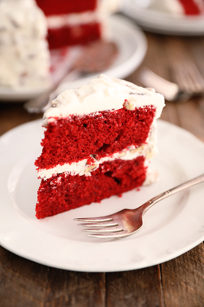 A single piece of Perfect Red Velvet Cake