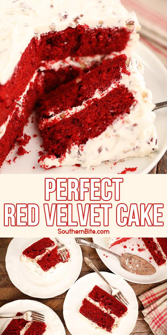 Perfect Red Velvet Cake - image for Pinterest