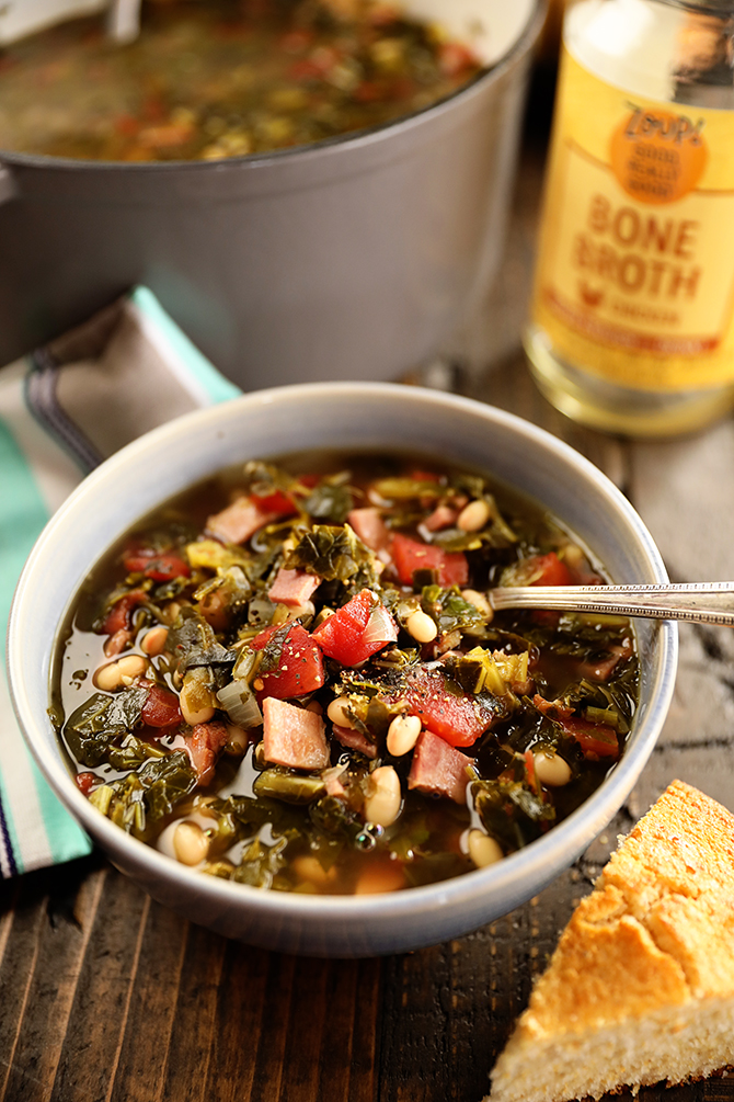 Bowl of Collard Green Soup with Ham and Beans