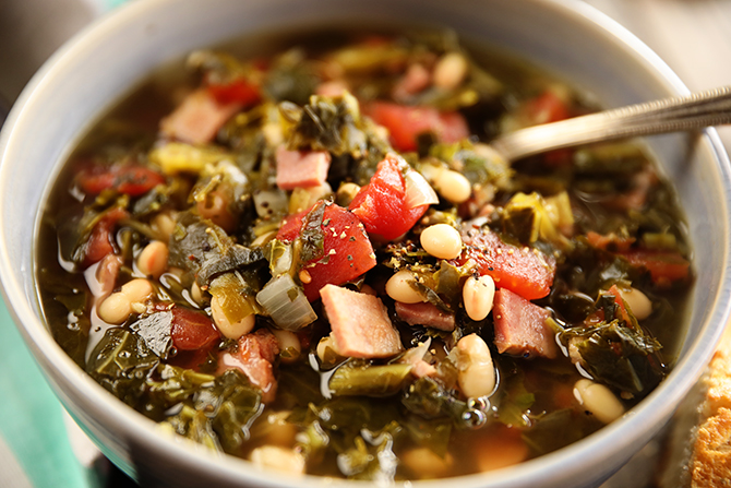 Bolw of Collard Green Soup with Ham and Beans