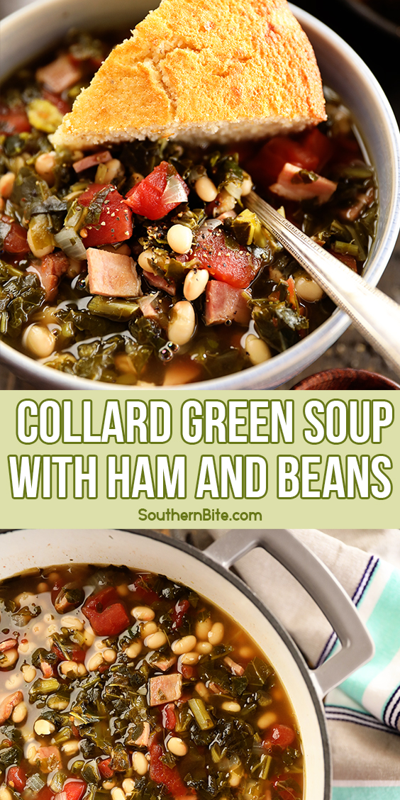 Collard Green Soup with Ham and Beans - image for Pinterest