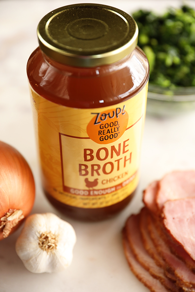 Jar of Zoup! broth with soup ingredients