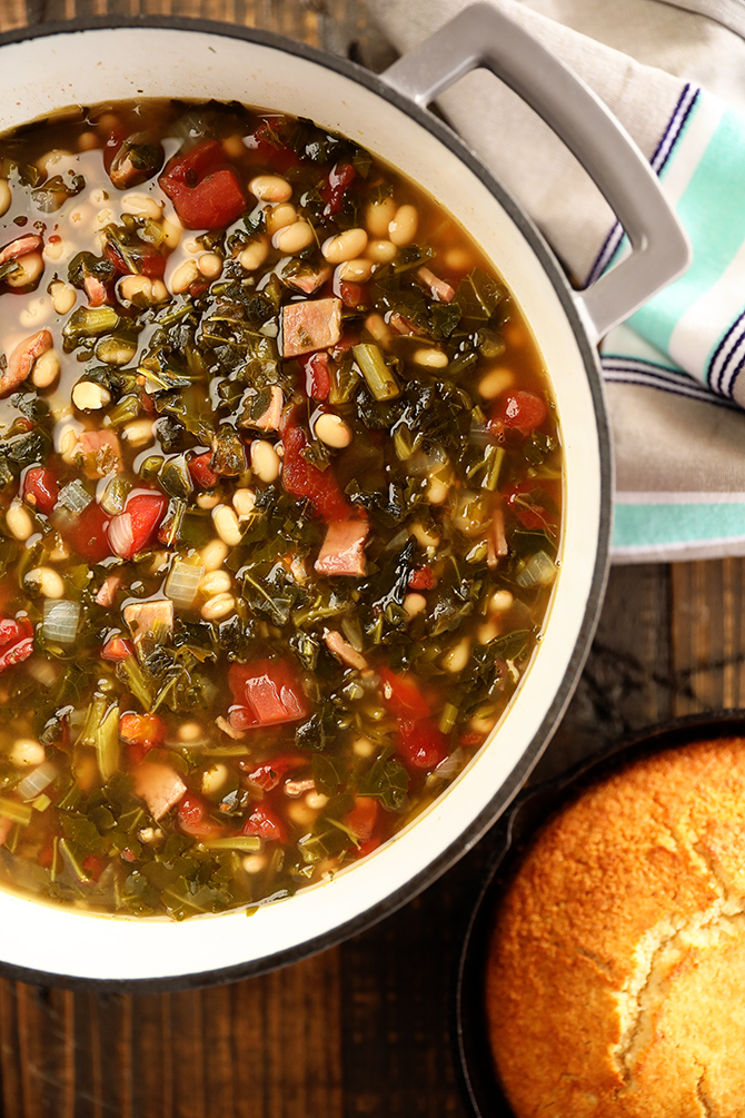 Pot of Collard Green Soup with Ham and Beans