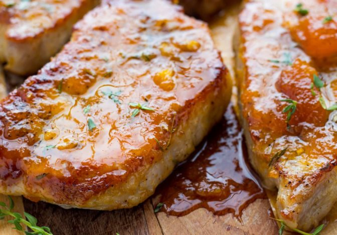 Easy Apricot Ginger Steakhouse Pork Chops