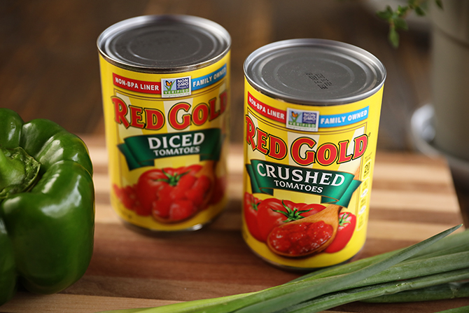 Cans of Red Gold Tomatoes