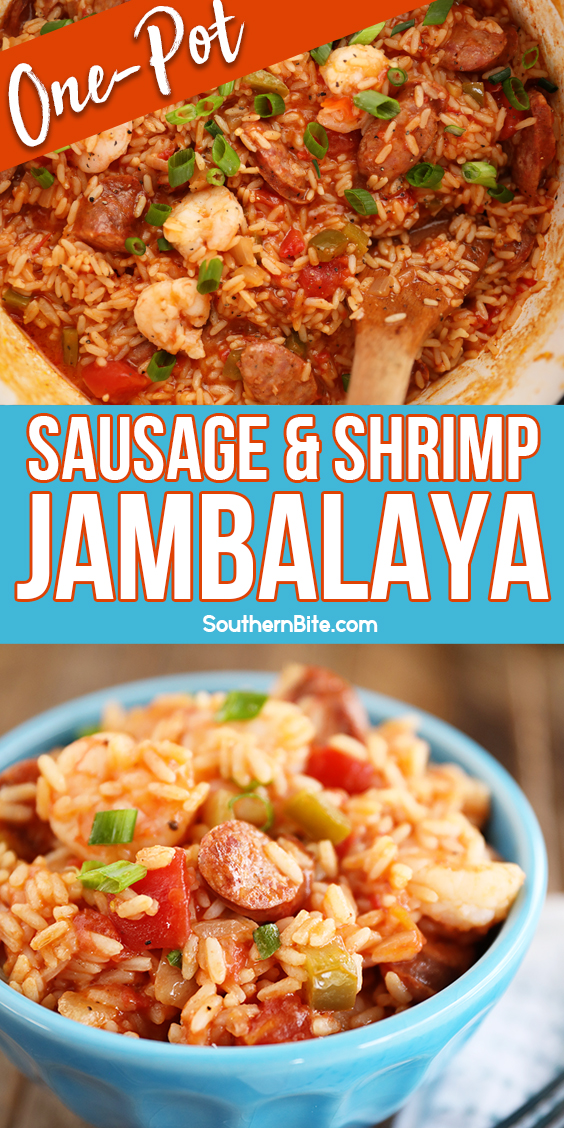 One-Pot Sausage and Shrimp Jambalaya - Pinterest 2 - collage for Pinterest