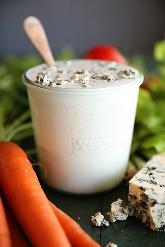 Closeup of Chunky Buttermilk Blue Cheese Dressing
