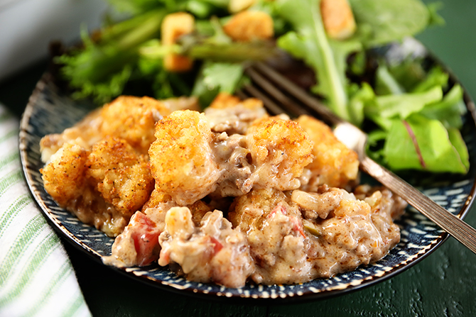 Creole Tater Tot Casserole on a plate