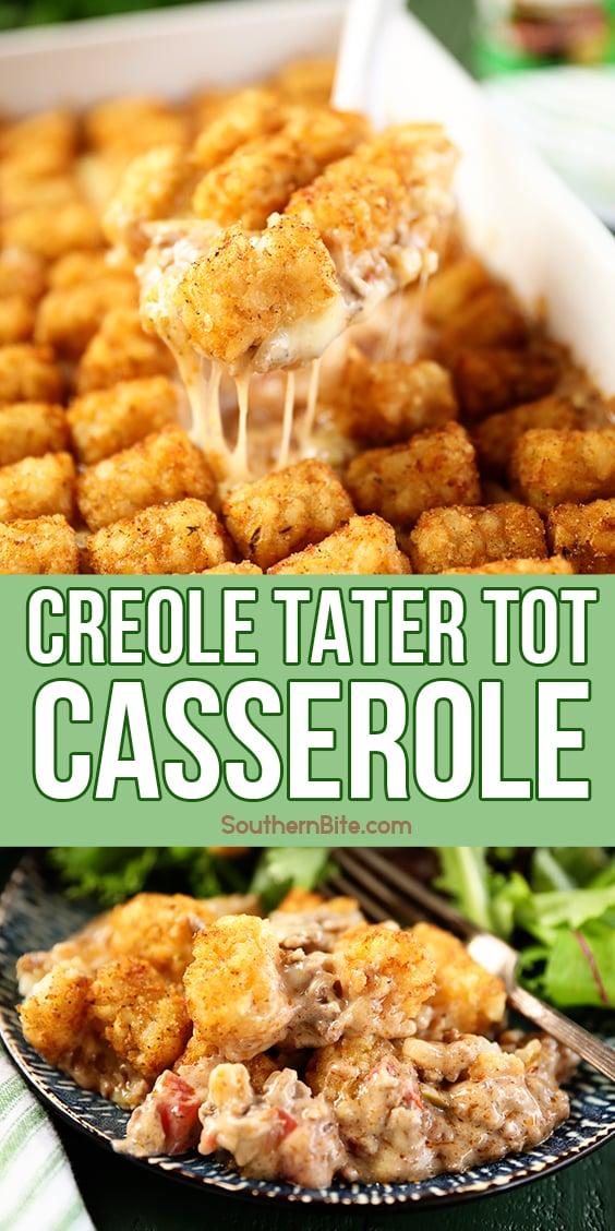 Scoop of Creole Tater Tot Casserole