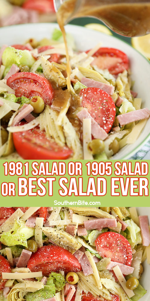 Salad with tomatoes, ham, olives, artichokes, and cheese.