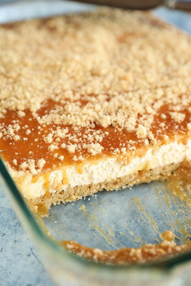 Pan of Caramel Pecan Shortbread No-Bake Cheesecake