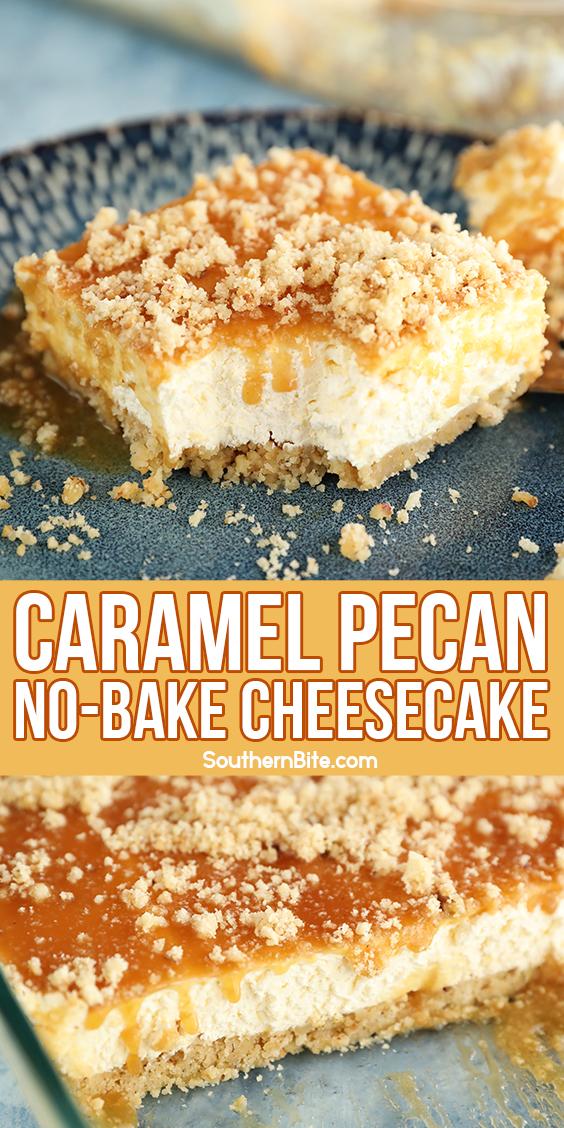 Caramel Pecan Shortbread No-Bake Cheesecake - image for Pinterest