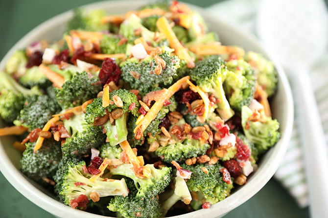 Easy Broccoli Salad in a bowl