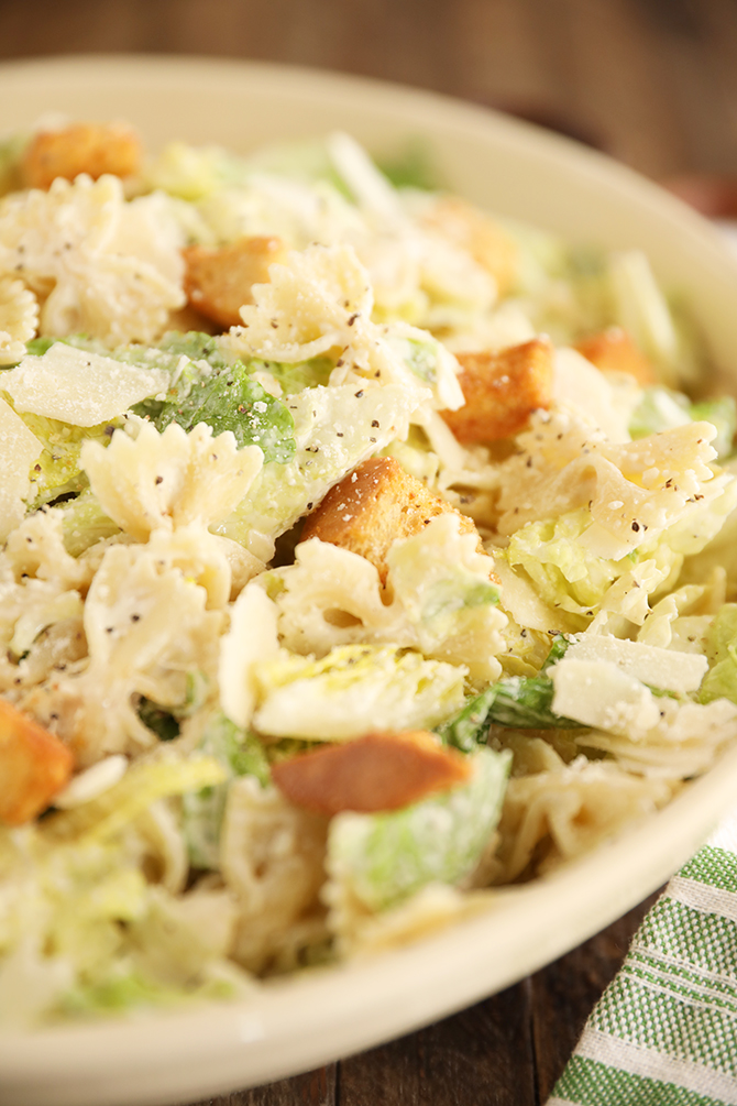 Pasta Caesar Salad with cheese in a bowl