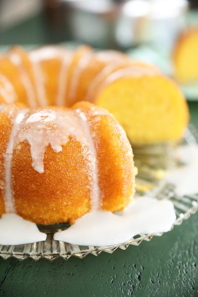 Vintage Lemon Apricot Nectar Cake with a slice missing