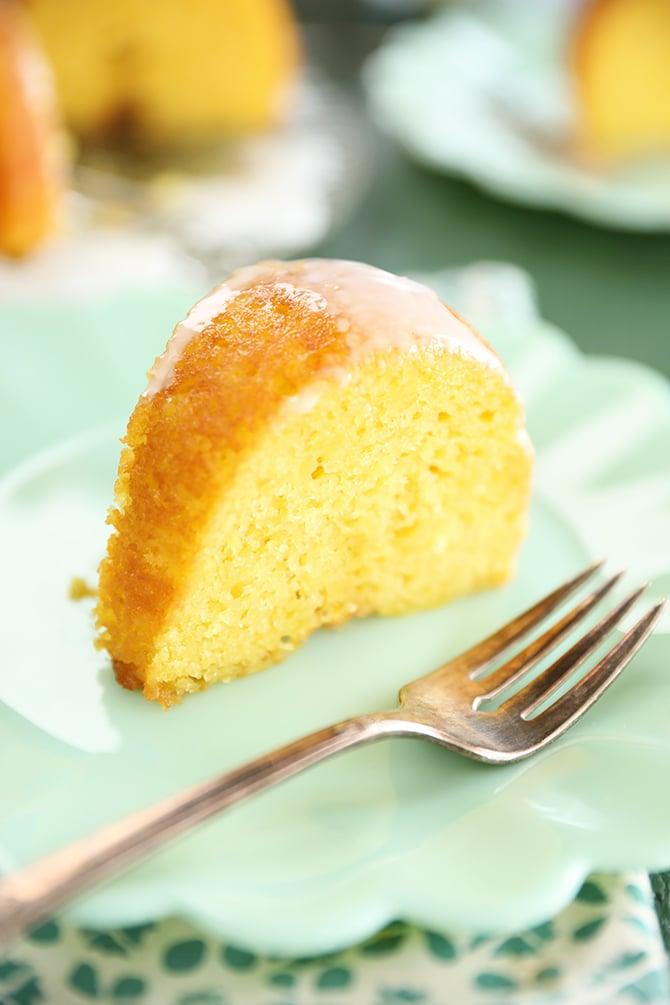 Slice of Vintage Lemon Apricot Nectar Cake on a green plate