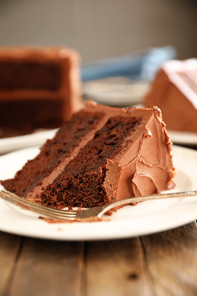 Slice of Best Chocolate Cake with bite missing